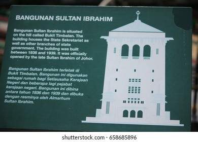 LEGO LAND, MALAYSIA, JANUARY, 2015: information sign board of Bangunan Sultan Ibrahim at Lego Land, Malaysia