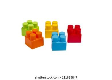 lego plastic toy blocks on white background isolated