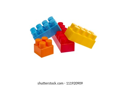 lego plastic toy blocks on white background