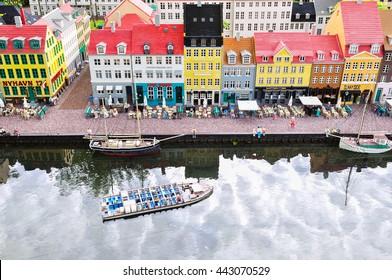 Legoland in Billund, Denmark-June 29,2015. Kopenhagen city  buildings , streets made of Lego bricks in LEGOLAND in Billund, Denmark