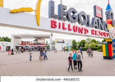 Legoland in Billund, Denmark-June 29,2015. Main entrance in to the park, LEGOLAND in Billund, Denmark