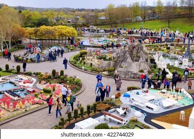 LEGOLAND, WINDSOR, UK - APRIL 30, 2016: Legoland visitors in the Miniland section