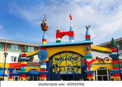 LEGOLAND, WINDSOR, UK - APRIL 30, 2016: The colorful entrance to the Legoland Hotel