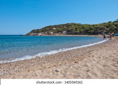 Legrena region, Attika, Greece / May 2019: The nudist beach of the Legrena region near the city of Athens