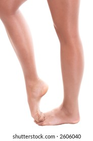 Legs of ballet dancer girl on white background