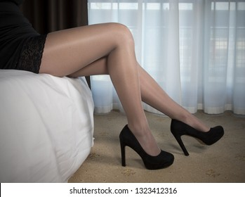 Legs covered from a pair of pantyhose