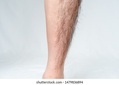 Legs hair removal for men, before and after. Apply to half of leg.