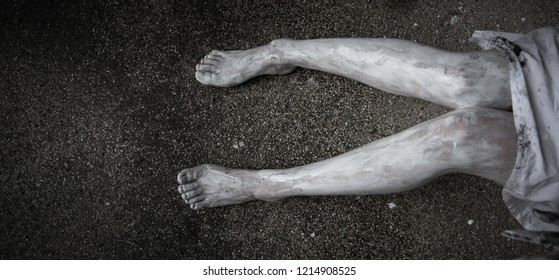 Legs of horror woman ghost creepy with copy space for background, halloween day concept