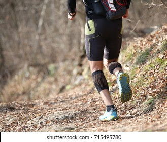 legs of an isolated runner during the country rush in the middle of the autumn forest