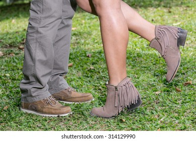 legs loving couples man and woman beautiful shoes