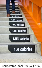 Legs of man walk and run up the stairs, calories counting step for healthy