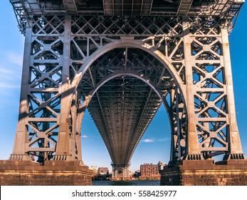 Legs of Manhattan bridge seen from underneath