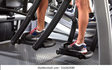 Legs on elliptical trainer