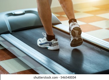 Legs on treadmill.physical therapy