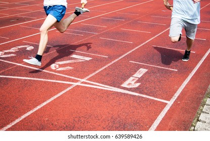 legs of runners approaching the finish line of a race