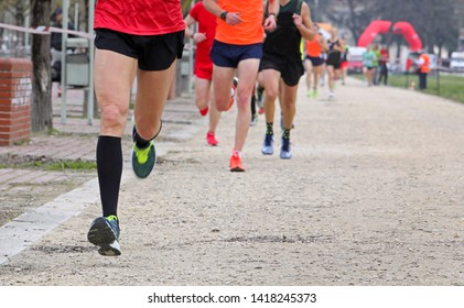 Legs of Runners during the marathon race in the city