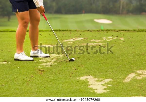 Legs Shot Golfer Lady Golfer Set Stock Photo (Edit Now
