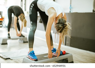 legs stretching group training. Fitness stretching