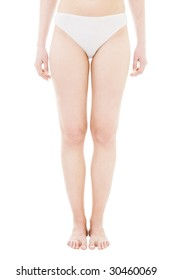 Legs of woman standing in generic white uderwear front view isolated on white