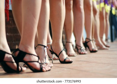 Legs of women in a line during a modelling contest