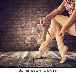 legs and wooden floor