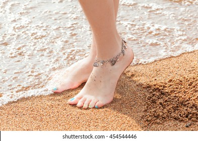 legs of a young girl and anklet ankle