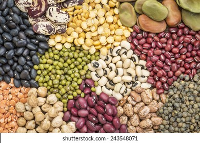 legume abstract - top view of a variety of colorful bean, lentil and pea