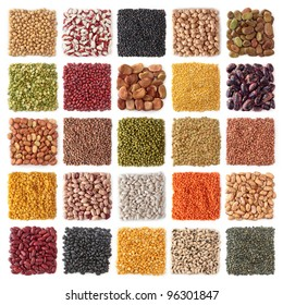 Legume collection isolated on white background