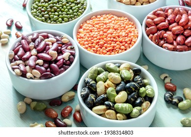Legumes. Many different pulses in bowls