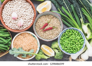 Legumes and vegetables background.Arabian and asian cuisine.