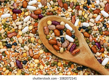 Legumes with wood background