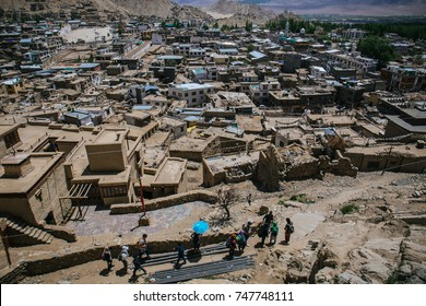 Leh, India – 19 June 2017: The complex shape and random structure of mud brick houses all built in a disorganised way