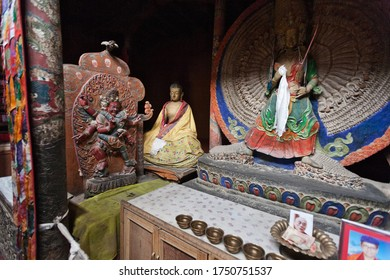Leh, India, 2012: small Buddhist altar in the Leh Palace