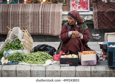 Leh, India - Aug 7, 2016 :People and goods in Leh Main Bazaar, Leh, Ladakh, Jammu and Kashmir ,India