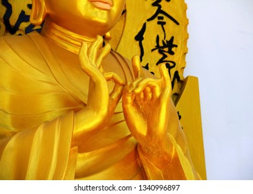 LEH, INDIA - JULY 02: Golden Buddha statue with mudra of teaching - symbolic gesture of the hands and fingers, Shanti Stupa (Peace Pagoda) on July 02, 2018 in Leh, Ladakh, Jammu&Kashmir, India