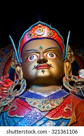 LEH, INDIA - JUNE 12: Statue of Guru Padmasabhava at Hemis Gompa on June 12, 2012 in Ladakh, Jammu and Kashmir State, India. Padmasabhava is known also as Guru Rinpoche.