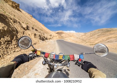 Leh, India - June 18, 2017: Motorcycling the Srinagar Leh Highway, a high altitude road that traverses the great Himalayan range, Ladakh, India.