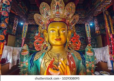 LEH, INDIA - October 2017: Giant statue of Maitreya Buddha  or Future Buddha inside the Thiksey Monastery in Ladakh, India