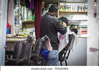 LEH, INDIA - October 2017: Indian barber shop. Hairdressing saloon on the street of old Leh town in Ladakh, India