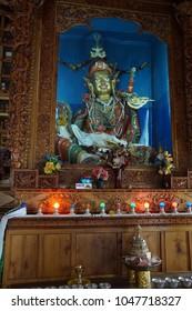 LEH, INDIA - SEP 11, 2017 - Buddha altar in temple in Leh, Ladakh, India