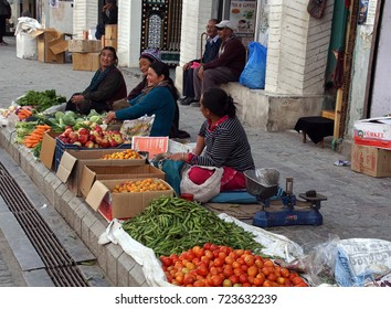 LEH, INDIA - SEP 11, 2017 - Ladakhi women selling vegetables in the central market of Leh, Ladakh, India