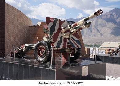 LEH, INDIA - SEP 11, 2017 - Howitzers on display (75/24 Pack) outside Indian Army Museum in Leh, Ladakh, India