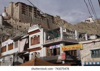 LEH, INDIA - SEP 11, 2017 - Central market in valley of Leh, Ladakh, India