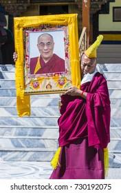 LEH, INDIA - SEPTEMBER 20, 2017: Buddhist Tibeti monk Participates in the Ladakh Festival in Leh India on September 20, 2017