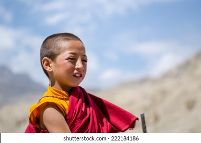 LEH, LADAKH, INDIA - AUGUST 15 : Unidentified tibetan boys, novice monks at Lamayuru monastery temple Buddhist school student on AUGUST 15, 2014