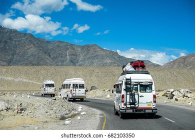 LEH LADAKH , INDIA - July 17 : The tour bus is ride on the way between mountain summer in Leh Ladakh,India on july 17, 2017.