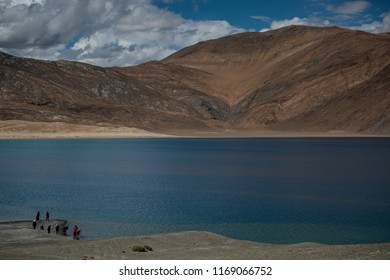 LEH LADAKH, INDIA - JULY 25: View point at Pangong Lake with blue and turquoise water, Himalaya mountain, sky and cloud background in summer