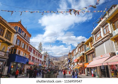 LEH, LADAKH, INDIA – JUNE 22, 2018: Main bazar street in Leh city, Ladakh. This is the local market and famous place for tourist to visit in Leh, Ladakh India.