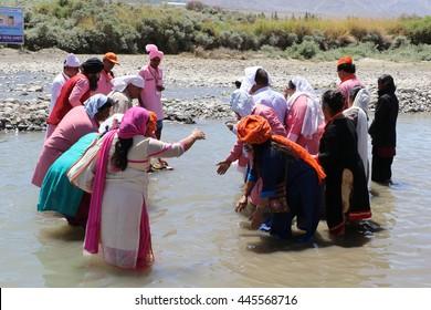 Leh (Ladakh), India - June 23, 2016 : People are celebrating Sindhu darshan festival at the bank of Indus river Leh, Ladhak, Jammu & Kashmir.