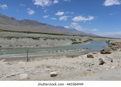 Leh (Ladakh), India - June 23, 2016 : Indus river in Leh, Ladhak, Jammu & Kashmir. Hindu people regarded it as a holy river and celebrate Sindhu darshan festival at its bank every year.
